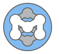 "MoinMoin logo, sort of a white ""M"" inside a circle with light blue background. The corners of the M are rounded and seem connected like nodes"