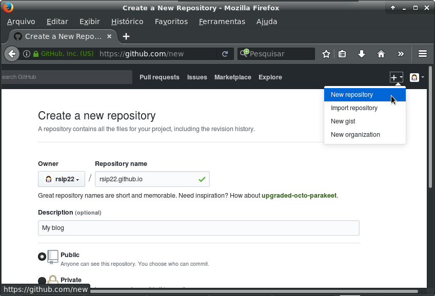 Screenshot of Github, the menu to create a new repository is open and a new repo is being created with the name 'rsip22.github.io'