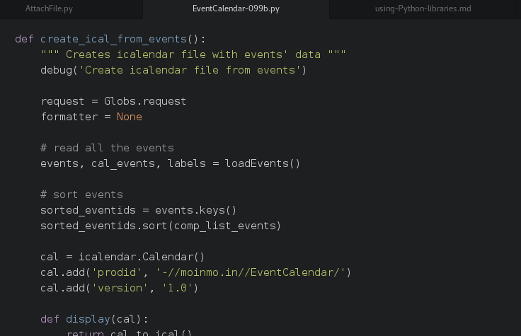 A screenshot of the code, with the function definition for creating the ical file from events from the macro