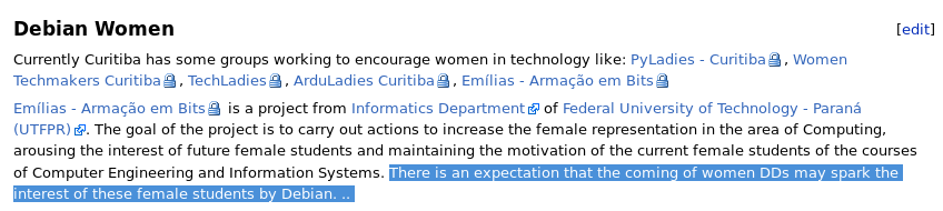 "A screenshot of the proposal made by the Brazilian community for DebConf19. Even though it lists a lot of women in tech groups, the all-male organizing team says ""There is an expectation that the coming of women DDs may spark the interest of these female students by Debian."""