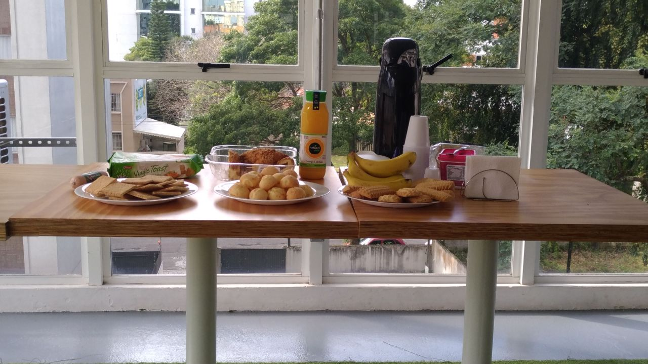 The breakfast table with food