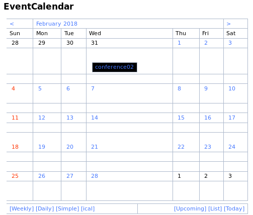 Wiki page showing the calendar, with the 'ical' link at the bottom