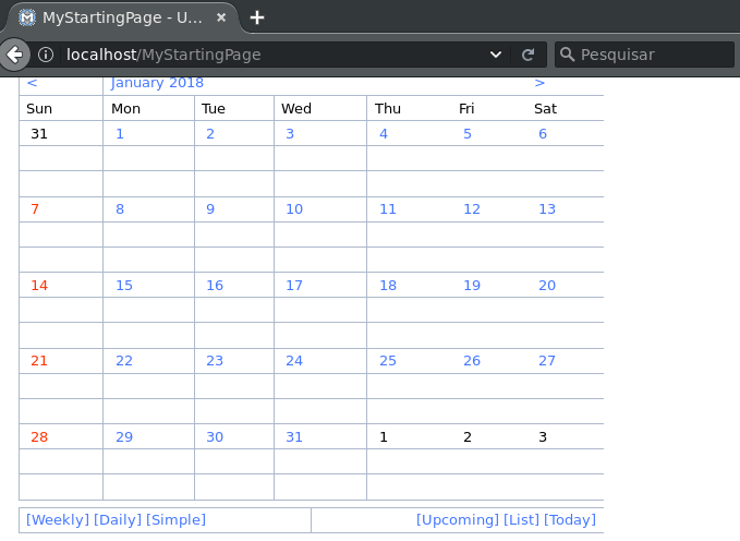 Mozilla Firefox screenshot showing MoinMoin wiki with the EventCalendar plugin working and displaying a calendar for January 2018