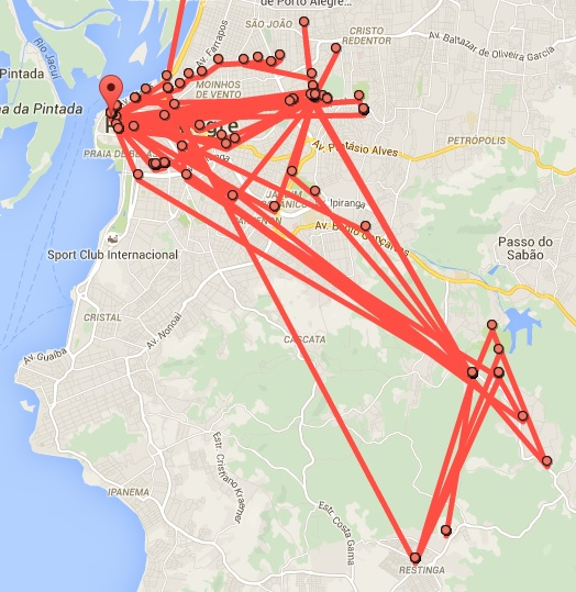 A Google Map with several spots marked, linked by red lines. Those are places I had visited in my city during a whole month.