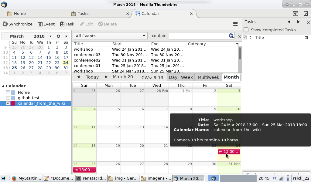 Thunderbird screenshot, showing the new calendar with it's events