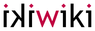 Ikiwiki logo, the first 'iki' is black and mirrors the second one, with a red 'W' in the middle