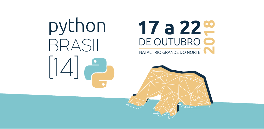 PythonBrasil logo. Yellow and light blue with a map of Rio Grande do Norte. It features the date of the conference