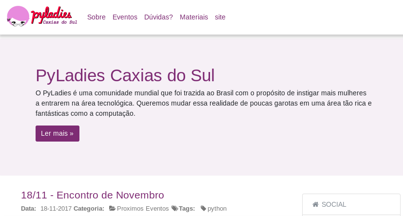 Image of the PyLadies Caxias do Sul website, white background and purple text