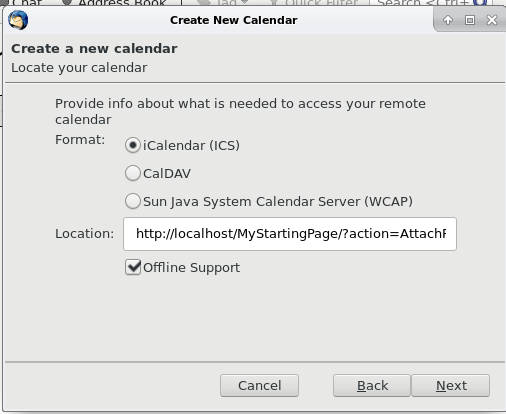 "Thunderbird screenshot, showing the new calendar dialog and the ical URL pasted into the ""location"" textboxd"
